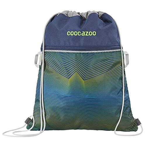 """Coocazoo Sportbeutel RocketPocket """"Soniclights Green"""", grün, mit Reißverschlussfach und Kordelzug, reflektierende Elemente, Schlaufen zur Befestigung am Schulrucksack, für Jungen, 10 Liter"""