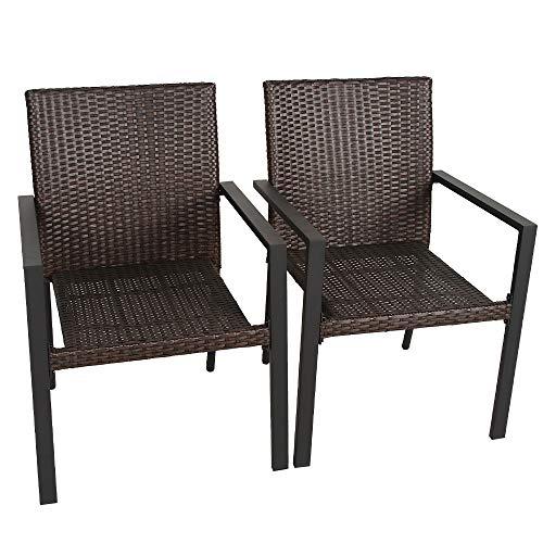 Bali Outdoor Wicker Patio Dining Set, Set of 2 StackableOutdoor Wicker Chairs for Patio, Garden, Yards, Indoor, Multibrown