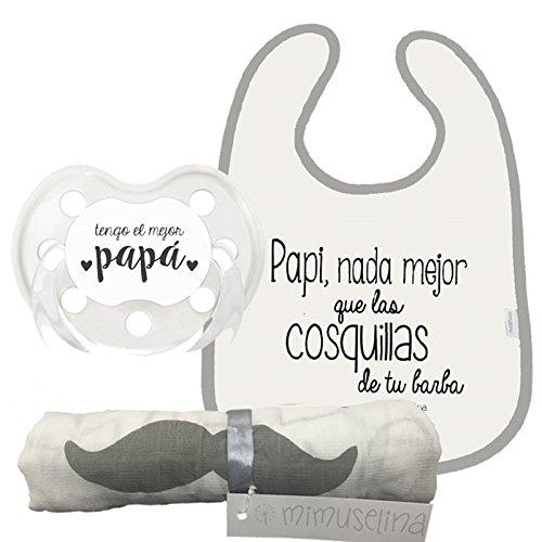 Mimuselina Pack Regalo Día del Padre | Regalo para Papás y Bebés, Muselina Algodón, Chupete y Babero para Papi y Bebé, Ideal para Papás Primerizos