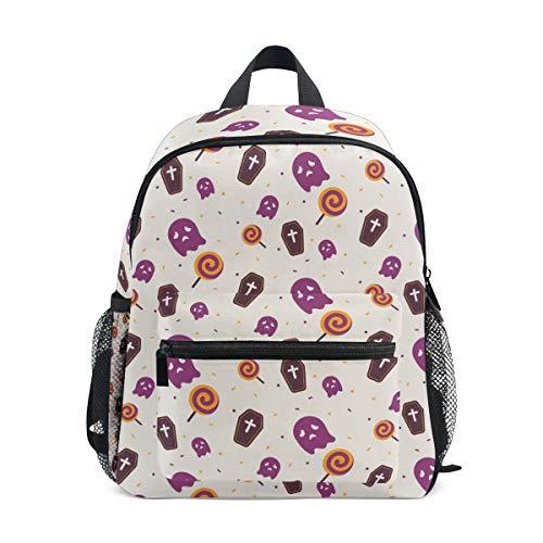Modischer Kinder-Rucksack mit süßem Halloween-Sarg, Ghost Muster, hochwertiger lässiger Tagesrucksack, Leichter Canvas-Rucksack für 3–8 Jahre, Kleinkinder, Kinder, 25,4 x 10,2 x 30,5 cm