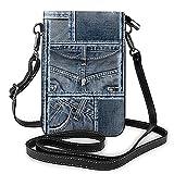 Bolso de cuero ligero de la PU pequeño bolso de Crossbody mini bolsa del teléfono celular bolso de hombro con correa ajustable azul Denim Patchwork patrón