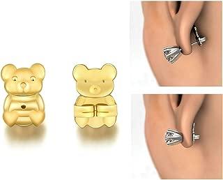 Earring Lifters - Adjustable Hypoallergenic Bear Shape Earring Backs (Gold)