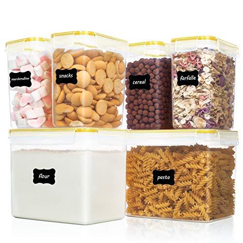 Vtopmart 6 Stück Vorratsdosen Set,Müsli Schüttdose & Frischhaltedosen, BPA frei Kunststoff Vorratsdosen luftdicht, 24 Etiketten für Getreide, Mehl, Zucker usw (Gelb)