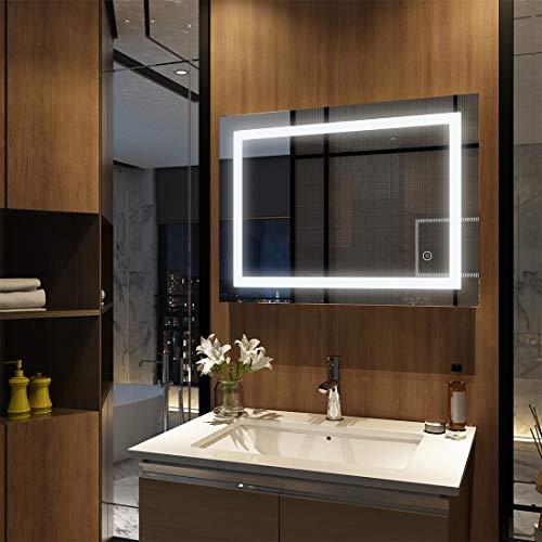 EMKE miroir mural de salle de bains miroir LED avec éclairage 80x60x4,5cm avec interrupteur tactile et anti-buée, miroir lumineux blanc froid 6400K
