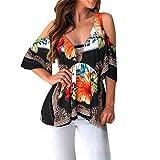 ZahuihuiM Mode Sexy De L'épaule Shirt pour Les Femmes Bat À Manches Courtes V-Cou Folk Personnalisé T-Shirt Survêtements Tops Casual Blouse