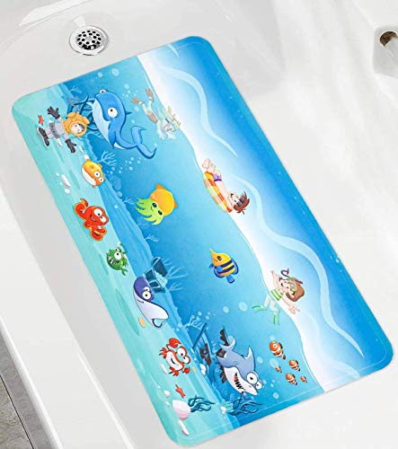 LOVEJIA Bathtub Mats for Kids Cartoon Design Non-Slip Baby Shower Mat with Suction Cups,Bathroom Mat Machine Washable 15.51 x 26.85 Inches