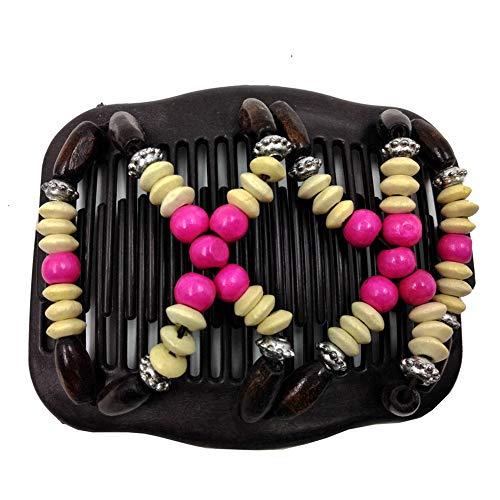 Homeofying Peigne à Cheveux Extensible en Perles de Bois pour Femme avec Double glissière Rose Rouge