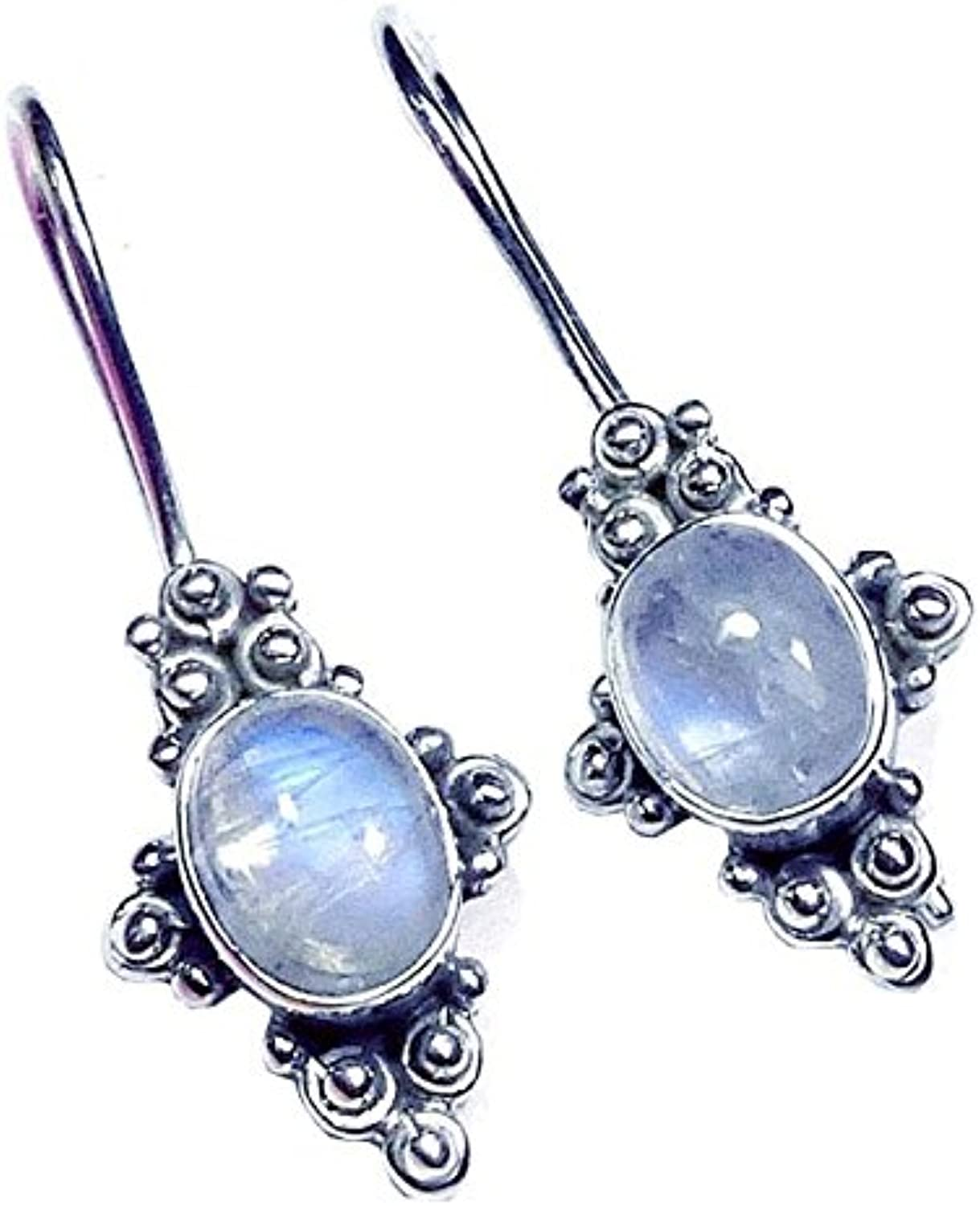Sitara Collections SC10430 Sterling Silver Earrings, Rainbow Moonstone Cabochon