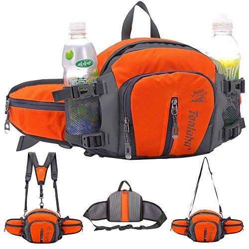 SINOKAL Style militaire multifonctionnel sac en toile taille Pack eau résistance banane avec porte-bouteille d'eau pour l'exécution de randonnée pédestre vélo escalade voyage Camping (Orange, Taille libre)