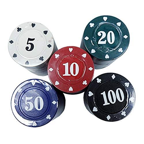 Pokerkoffer Pokerchips Denomination Spiel Chips Poker Set Ungiftiges und Umweltfreundliches Kunststoffmaterial, 20 Per Color