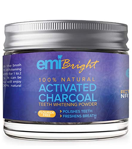 Activated Charcoal Natural Teeth Whitening Powder - Organic Coconut Charcoal - Freshens Breath, Efficient Alternative to Charcoal Toothpaste, Strips, Kits, Gels.2oz by Emibright.
