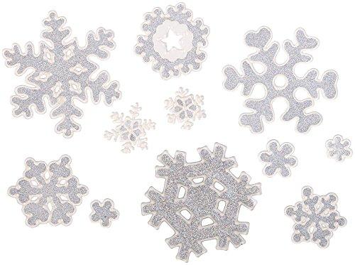 infactory Fensterbilder: 3D-Gel-Glitzer-Fenstersticker im Schneeflocken-Design, 11-teilig (Fensteraufkleber)