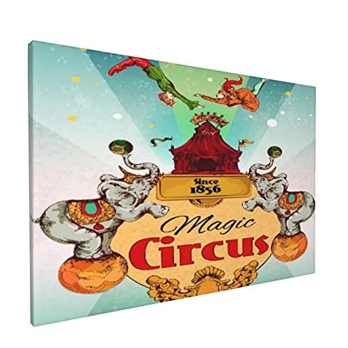 PATINISA Cuadro en Lienzo,Tienda de circo itinerante mágica Anuncio de espectáculo fantástico Cartel vintage con elefantes y actuación de acróbata aérea,Impresión Artística Imagen Gráfica Deco