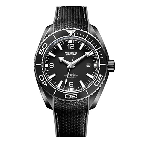 ROCOS Watches for Men - Pro Diver Watch - Sports Watch for Men with Screw Down Crown for 10ATM of Water Resistance - Analog Dial, Automatic Movement - Mens Watches Collection - R0146 (Black)