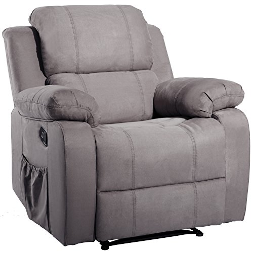 Suede Heated Massage Recliner Sofa Chair Ergonomic Lounge with 8 Vibration Motors, Single Reclining Chairs with Massage and Heat for Elderly, Heavy Duty Home Theater Sofa Chair