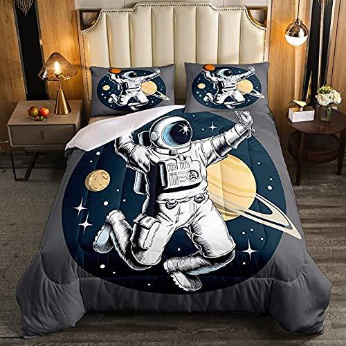 HUA JIE Kinder Astronaut Tröster Set Jungen Weltraum Bettwäsche für Schlafzimmer, Galaxy Solar System Gesteppte Bettdecke Kinder Mädchen Teenager, Sternenhimmel nach unten