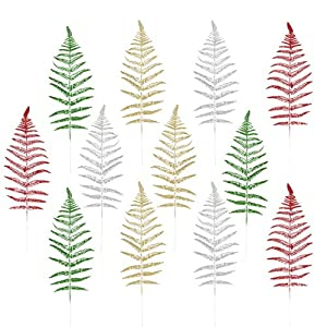 NUOBESTY Christmas Leaves Christmas Artificial Flashing Leaves Xmas Tree Hanging Ornament DIY Christmas Wreath Crafts for Wedding Christmas Tree Decorations 12pcs
