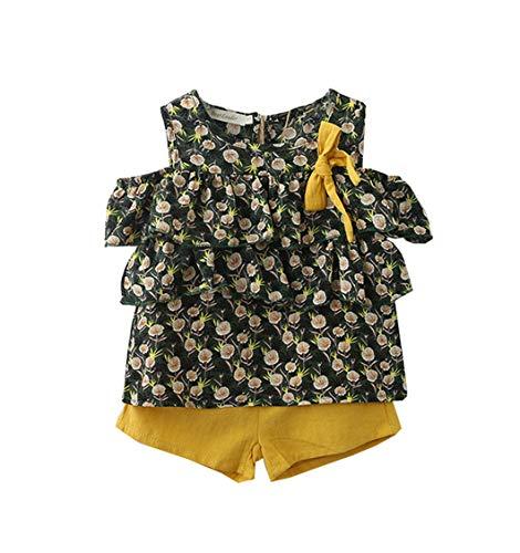 ALLAIBB Petite Fille Chemisier en Mousseline à Fleurs Floral Fond 3-7Ycorta 3-7ans Size 15 (Vert)