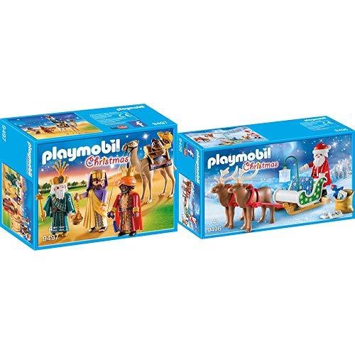 PLAYMOBIL 9497 Spielzeug-Heilige DREI Könige, Unisex-Kinder &  9496 Spielzeug - Rentierschlitten Unisex-Kinder