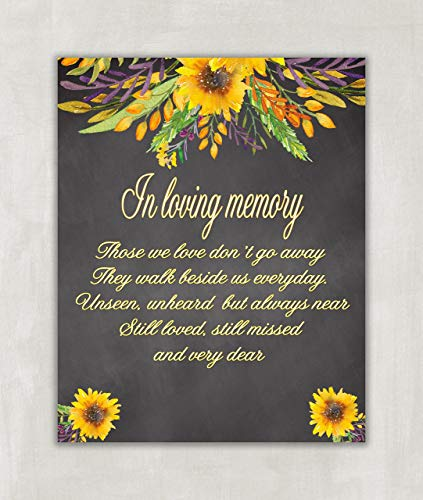 Wedding Table Sign - In Loving Memory Wedding Sign Chalkboard Sign - 8x10 ((UNFRAMED))