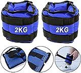Vencede Set 2 Pesas para Tobillos y muñecas Pesas para Tobillos de 0.5KG a 6KG Peso Las 2 Pesas Diferentes tamaños Transpirable Pesas Ajustables para Correr Lastres de Tobillos y muñecas (2 x 1KG)