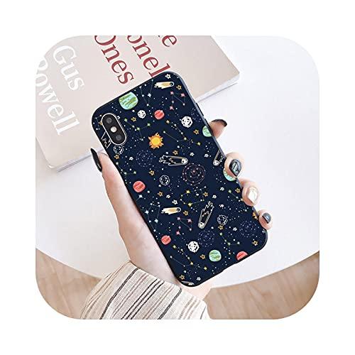 Funda de silicona mate para iPhone 12 11 Pro Max 6 6S 8 Plus X 7 Plus XS Max SE2-negro planeta 4-para iPhone X