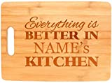 Custom Cooking Gift Enter Name Better Kitchen Personalized Big Rectangle Bamboo Cutting Board Bamboo