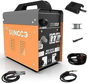 SUNCOO 130 MIG Welder Flux Core Wire Automatic Feed Gasless Little Welder Portable Welding Machine 110 Volt,Orange by SUNCOO