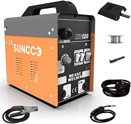 SUNCOO 130 MIG Welder Flux Core Wire Automatic Feed Gasless Little Welder Portable Welding Machine 110 Volt Yellow