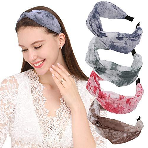 Folora 4Pcs Fashion Wide Stirnband mit Twisted Knot, schönes Haarband für Frauen und Mädchen, Tie Dye