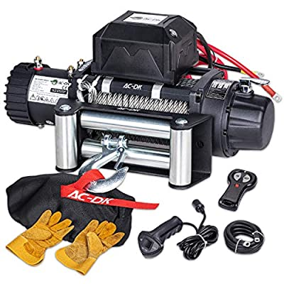 AC-DK 12500lbs Electric Winch Water Proof IP67 Recovery Winch 12V DC Black Color with Steel Rope Including Overload Protection, Winch Dust Cover and 2 Wireless Remotes