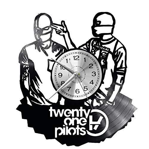 WoD Twenty One Pilots Wanduhr Vinyl Schallplatte Retro-Uhr groß Uhren Style Raum Home Dekorationen Tolles Geschenk Uhr