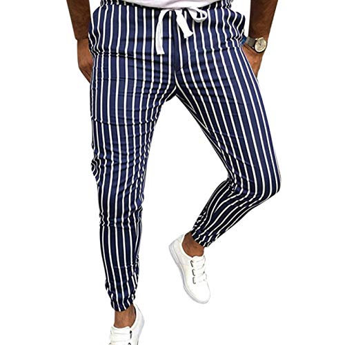 Pantalones Casuales para Hombre, Moda, Estampado a Rayas, cordón, Cintura elástica, Estiramiento, Corte Ajustado, Pantalones Casuales hasta el Tobillo Medium