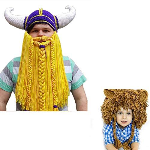 XWWS Rasta Bonnet Halloween Viking Cap Horn, Lion Mane Bonnet, Hiver Chaud Ski Cap Enfants pour Roleplay Party Carnaval,Jaune,Child