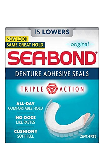 Seabond Denture Fixative Seals Lowers (15) - Pack of 2