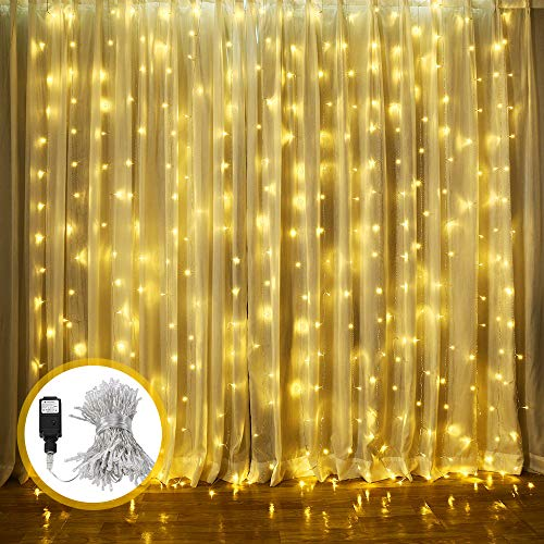 LED Lichtervorhang, ECOWHO Warmweiß 300 LED Lichterkette Innen, 8 Modi IP44 Wasserdicht Lichterkettevorhang für Weihnachten, Halloween,Hochzeit, Party, Schlafzimmer, Haus Deko(3x2.5M)
