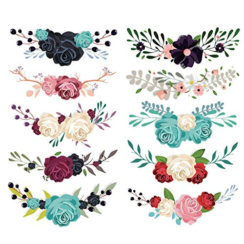 YYWJ Flower Applique Patches, Pack of 10 Embroidery Flower Patch Washable Embroidery Stickers Heat Iron on Flower Patches for Clothing Dress Plant Hat Luggage