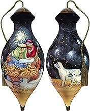 Ne'Qwa Art Hand Painted Blown Glass Ornament, Nativity Christ is Born