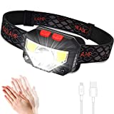 LED Head Torch, USB Rechargeable Headlamp Headlight, Super Bright 800 Lumens COB LED Headtorch, 70g, Motion Sensor Head Lamp with IPX45 Waterproof for Kids Adults, Running, Camping, Fishing