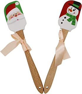 Christmas Silicone Spatula, Set of 2, Santa Spatula & Snow Man Spatula/Mixing Batter Scraper/Cream Butter Spatula with Wooden Handle, Great for Christmas Decorating, Gifts and Baking