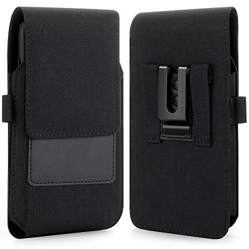 BECPLT iPhone 12 Pro Max Holster-Hülle, Nylon Gürtelclip Hülle Gürtelholster Handy Tasche mit ID Card Cover Halter für iPhone Xs Max, 7 8 Plus, Galaxy S20 FE, Note 20, Note 8 9 (passt mit dünner Hülle)