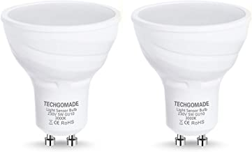 Techgomade GU10 Dusk to Dawn Led-Lampen, Lichtsensorlampen, 5W, 40W Halogeenlamp Equivalent, 380 Lumen, Warm Wit 3000K, 12...