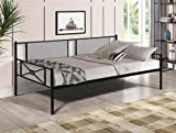 Twin Daybed Frame, Metal Frame Slats Platform Bed Mattress Foundation with Headboard, Footboard and Upholstered Sideboard, Replacement Bed Sofa for Living Room, Guest Room, No Box Spring Needed, Black