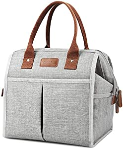 Lunch Bag for Women & Men, Large Insulated Lunch Box Cooler Tote Bags, Adult Reusable Lunch Boxes with Water Resistant for Work, School, Travel and Picnic (Grey)