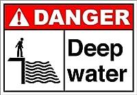 ヴィンテージの外観の複製、深い水危険2996ブリキの壁看板レトロな鉄の絵画ヴィンテージメタルプラークハンギングポスターバーカフェストアホームヤード