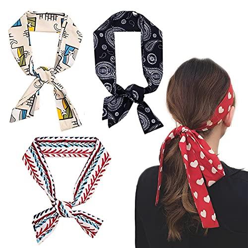 4 Pcs Bandas Del Pelo Multi Patron Bufanda Cuello Accesorios Pelo las mujeres multifunción bufandas de seda de raso Chales lazo del pelo bolso de la manija de la cinta Pañuelos