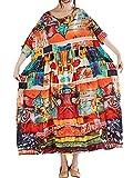 Romacci Damen Blätter Drucken Splice Farbe Lange Maxi Rüschen Dress Strand Urlaub Lose Sommerkleid Schwarz (One Size, Orange 2#)