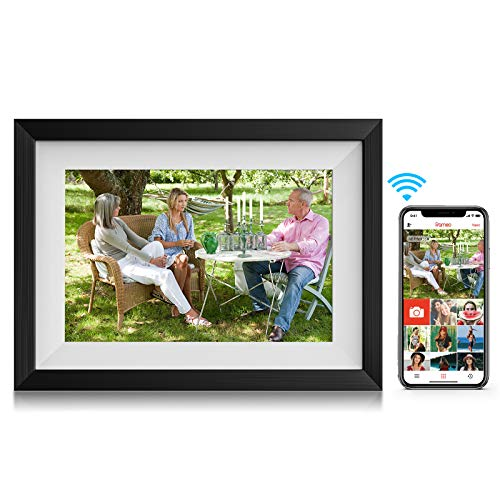 Amaboo 10.1'' WiFi Digital Picture-Frames Smart Cloud Photo-Frame with Video/Pictures Share by APP, Wood Grain Black/White Digital Frames Picture
