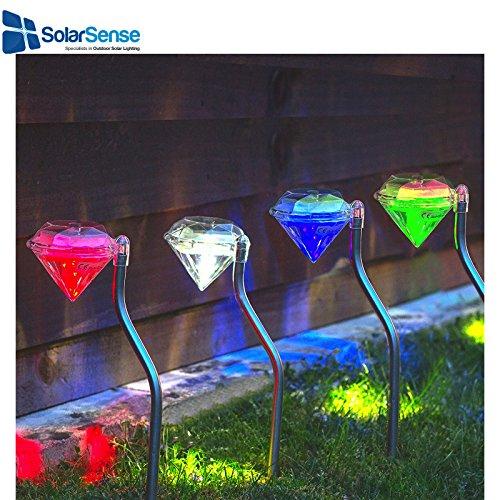 Solarsense set di 4cambia colore solare diamante luci, luci a LED luci da giardino, lanterne, da giardino ad alimentazione laterale, percorso patio Outdoor