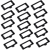 SpzcdZa 15Pack 59x45mm Office Library File Drawer Cabinet Card Tag Label Card Holder Drawer Pull/Label Holders/Label Frames Card/Label Holder Modern Label Holders Metal Frame(Black)
